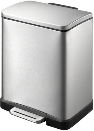 Afbeelding van Roestvrijstalen EKO E-Cube Pedaalemmer - 12 liter - Mat RVS