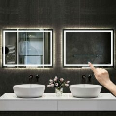 Aica Sanitair Badkamerspiegel 110x70cm LED spiegel met verlichting,wandspiegel,enkele touch schakelaar,anti-condens,koud wit