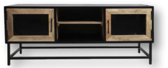 HSM Collection TV-meubel Dublin - 140x40x55 - Zwart/naturel - Ijzer/mangohout