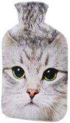 Wärmflasche Katze grau/weiß, 2 Liter Füllmenge
