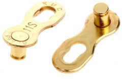 MTB Cycling Herbruikbare Goudkleurige Missing Chain Link - 11 Speed - Smart link / Quick link / Kettingschakel - KMC / Shimano / Sram - herbruikbaar