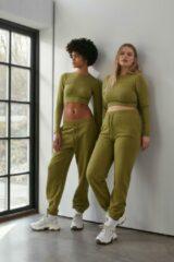 Groene NA-KD Flow Sweatpants Met Rits Op De Zoom - Green