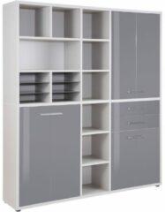 Bermeo Boekenkast Banco Large - Platina grijs met grijs