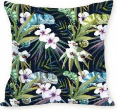 Paarse Moodadventures | Kussen |Kussenhoes Tropical Flowers Black Purple | 45 X 45 cm.