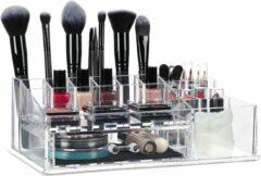 Transparante Relaxdays make-up organizer - sieradenkist - cosmeticabox - lippenstifthouder - acrylbox doorzichtig