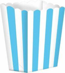 Witte Amscan Snoepbakjes Streep 5 Stuks 9,5 X 13,5 Cm Hemelsblauw