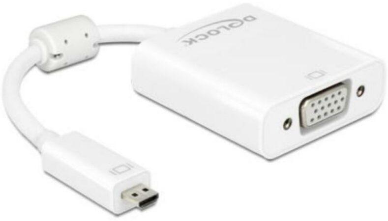 Afbeelding van Delock HDMI / VGA / Jackplug Adapter [1x HDMI-stekker D micro - 1x VGA-bus, Jackplug female 3.5 mm] Wit Met Ferrietkern 0.17 m