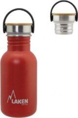 Laken RVS fles Basic Steel Bottle 500ml ,Bamboo S/S Cap - Rood