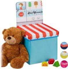 Lichtblauwe Relaxdays opbergbox - opvouwbaar - kinderen - speelgoedkist - poef - hocker - opbergruimte Icecream