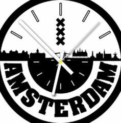 Witte Dartli Klok van de stad Amsterdam met ronde tekst klein - 30 cm - zw/w