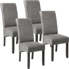 Tectake 4 eetkamerstoelen met ergonomische zitvorm grijs gemarmerd 403628