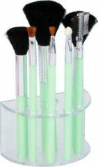 Merkloos / Sans marque 7 Groene make-up kwastjes in houder - Make-up kwastjesset groen
