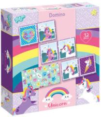 Paarse Totum Unicorn Domino spel - 32 delig kaartspel met vrolijke eenhoorn dessins