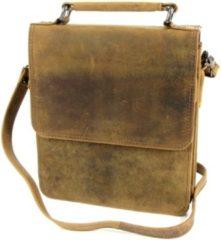 Leather Design schoudertas tablet leer Hunter bruin