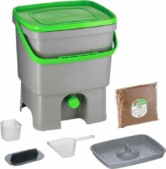 Skaza Exceeding Expectations Skaza Bokashi Organko keukencompostbak van gerecycleerd plastic |16 L| Starter Setbvoor keukenafval en compostering | met EM zemelen 1 kg | Grijs groen
