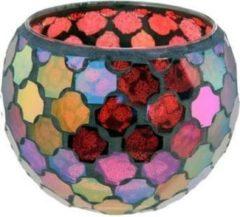 Rode New dutch Mozaïek glas waxinehouder (groot 10.5 cm)
