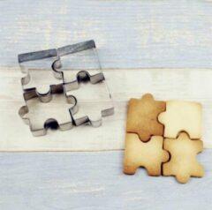 Roestvrijstalen Puzzel Koek Vormpjes 4 Stuks – Fondant & Koekjes Vormen – Puzzelstukjes – Bakvorm – Bakset – Uitsteekvorm / Uitstekers – Cookie Cutter Set – RVS – EPIN 3D