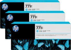 HP 771C licht-cyaan DesignJet inktcartridges, 775 ml, 3-pack (B6Y36A)