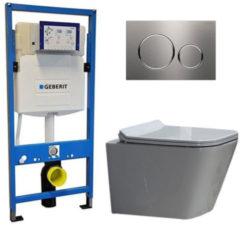 Douche Concurrent Geberit UP 320 Toiletset - Inbouw WC Hangtoilet Wandcloset - Alexandria Flatline Sigma-20 RVS Geborsteld
