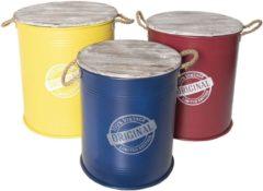 Clayre & Eef | Opbergdoos (3) Ø 50*56 cm/Ø 45*52 cm/Ø 40*48 cm | Meerkleurig | Hout/ metaal | Rond | 100% vintage, original, lim