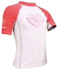 Grijze Waimea UV Shirt Meisjes - Korte Mouw - Wit/Fuchsia/Grijs - 152