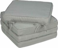 Relaxdays stoelkussens eetkamer - zitkussen 40 x 40 - 4 stuks - kussens met lint - dik grijs