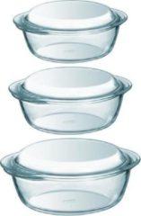 Transparante PYREX 3x Ronde glazen ovenschalen met deksel 1,4/2,1/3 liter - Ovenschaal/braadslede - Ovenschotel schalen - Bakvorm
