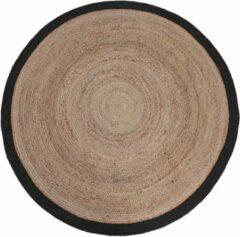 Naturelkleurige LABEL51 Vloerkleed 'Jute' 120cm, kleur Naturel/Zwart
