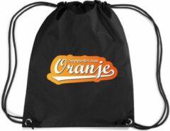 Bellatio Decorations Supporter van oranje rugzakje - nylon sporttas zwart met rijgkoord - Nederland/oranje supporter - EK/ WK voetbal / Koningsdag