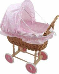 Angel Toys Rieten Poppenwagen - Stoffen Kap - Roze wielen - Roze Stipjes
