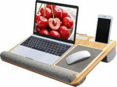 Grijze HN® Luxe Comfortabele schoot en bureau laptop / tablet / telefoon plateau standaard | Portable houder | Ingebouwde houders / muismat en kussens | bed bank trein auto | laptophouder bedtafel | knie tafel