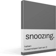 Snoozing katoen kussenslopen (set van 2) - 100% katoen - 60x70 cm - Standaardmaat - Grijs