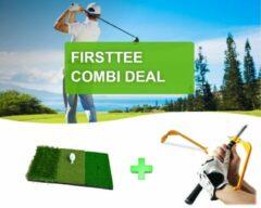 Rode Firsttee - COMBI DEAL - AANBIEDING - Chippingmat & Swing Guide - Oefenmat - Golf accessoires - Sport - Training - Golftrainingsmateriaal - Cadeau - Golfmat - Afslagmat - Golfset - Trainer - Golf matten - Matje - Putting Mat - Golf trainingsmaterialen
