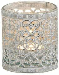 Bellatio Decorations 1x Waxinelicht/theelicht houder zilver antiek 8 cm - Woonaccessoires/woondecoraties kaarsenhouders