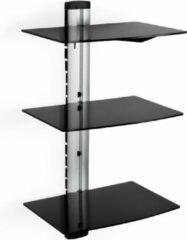 Zwarte TecTake wandsteun - muurbeugel voor o.a. DVD speler - 3 glasplaten - 400349