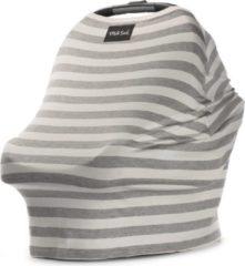 Grijze Milk Snob Cover CREAM & GREY STRIPE | Premium autostoel luifel en hoes voor baby's | Borstvoedingsdoek & Verzorgingssjaal