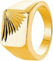 Goudkleurige Lucardi Gold Plated Zegelring - Maat 63