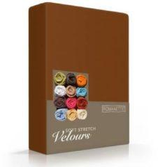 Bruine Romanette Velours hoeslaken - Bruin - 1-persoons (80/90/100x200/220 cm)