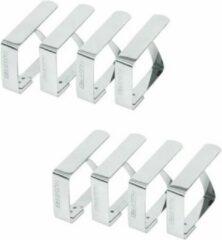 Zilveren Merkloos / Sans marque Tafelkleed klemmen - 8 stuks - RVS