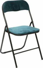 Atmosphera Vouwstoel velvet zitvlak en rug bekleed - stoel - tafelstoel - klapstoel - Blauw - stoel - tafelstoel - klapstoel