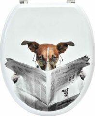 Gebor Praktische Toiletbril van MDF - Wit met Hond leest krant design - 18inch - 37,5x46cm - WC bril - Badkamer - Toilet - met Verchroomd stalen scharnieren