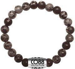 Zwarte CO88 Collection Elemental 8CB 17021 Rekarmband met Stalen Element - Natuursteen 6 mm - One-size - Grijs