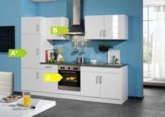 HELD Möbel Küchenzeile City 270 cm Hochglanz weiß - inkl. E-Geräte
