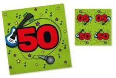Merkloos / Sans marque 20x Servetten 50 jaar groen/rood 33 x 33 cm - Feest tafeldecoratie servetjes - Verjaardag thema papieren tafeldecoraties