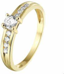 Goudkleurige Quickjewels huiscollectie Geelgouden Ring zirkonia 4020081 17.50 mm (55)