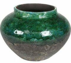 Ter Steege Jar Lindy groen Black donkergroene ronde lage vaas voor binnen 28 cm
