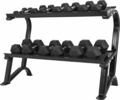 Zwarte Gorilla Sports Dumbellrack - Opbergrek - Hexagon dumbells - Geschikt voor 14 dumbells - Staal