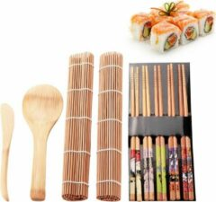 Favorite Things Sushi kit - Set met 5x eetstokjes, 2 x bamboe mat, lepel en mes. Maak zelf Sushi!