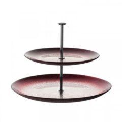 Leonardo Vivo Etagère 2-laags rood/zilver 25 cm