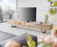 Naturelkleurige DELIFE Wyatt Sheesham Natuur TV tafel 220 cm 4 schuifladen Design- Lowboard